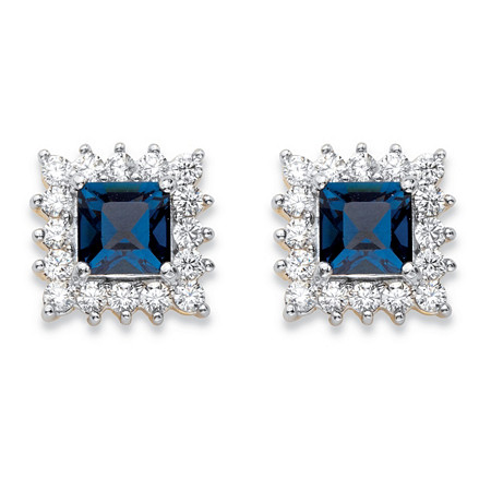 1.06 TCW Princess-Cut Sapphire Blue Crystal and White Cubic Zirconia Halo Stud Earrings 14k Yellow Gold-Plated at PalmBeach Jewelry