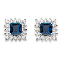 1.06 TCW Princess-Cut Sapphire Blue Crystal and White Cubic Zirconia Halo Stud Earrings 14k Yellow Gold-Plated