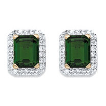 Emerald-Cut Simulated Emerald and Cubic Zirconia Stud Earrings 3.96 TCW 18k Yellow Gold-Plated