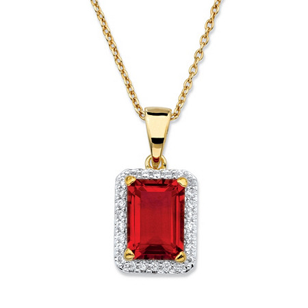 .18 TCW Emerald-Cut Red Glass and Cubic Zirconia Pendant Necklace 18k Yellow Gold-Plated 18