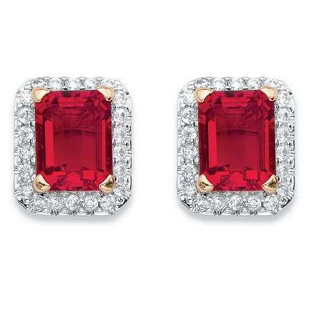 Emerald-Cut Simulated Red Ruby and Cubic Zirconia Stud Earrings 3.56 TCW 18k Yellow Gold-Plated at PalmBeach Jewelry