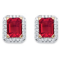 Emerald-Cut Simulated Red Ruby and Cubic Zirconia Stud Earrings 3.56 TCW 18k Yellow Gold-Plated