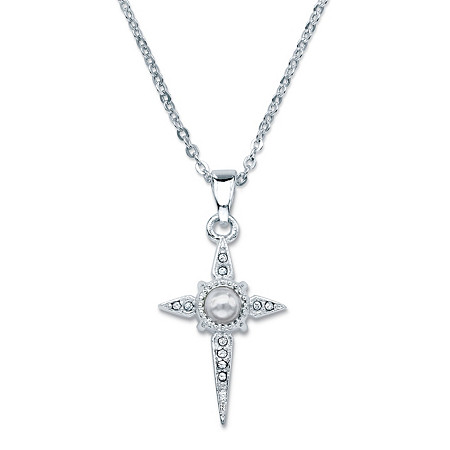 Round Crystal Lord's Prayer Cross Pendant Necklace in Sterling Silver 18