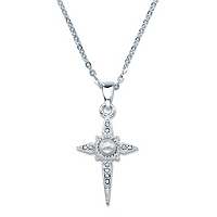Round Crystal Lord's Prayer Cross Pendant Necklace In Sterling Silver ONLY $28.93