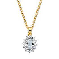 ".57 TCW Oval-Cut White Crystal and Cubic Zirconia Halo Pendant Necklace MADE WITH SWAROVSKI ELEMENTS 14k Yellow Gold-Plated 18""-20"""