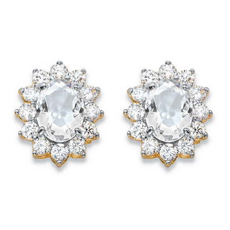 1.14 TCW Oval-Cut White Crystal and Cubic Zirconia Halo Stud Earrings MADE WITH SWAROVSKI ELEMENTS 14k Gold-Plated at PalmBeach Jewelry