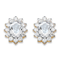 Oval-Cut White Crystal And Cubic Zirconia Halo Stud Earrings MADE WITH SWAROVSKI ELEMENTS ONLY $4.99