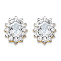 1.14 TCW Oval-Cut White Crystal and Cubic Zirconia Halo Stud Earrings MADE WITH SWAROVSKI ELEMENTS 14k Gold-Plated