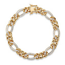 Men's White Diamond Accent Two-Tone Pave-Style Oval Loop Curb-Link Bracelet 18k Yellow Gold-Plated 8.5