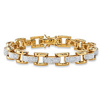 Men's Diamond Accent Pave-Style Two-Tone Fancy-Link Bracelet 18k Yellow Gold-Plated 8.5""
