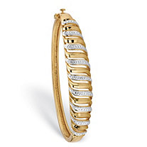 White Diamond Accent Two-Tone Pave-Style Cutout Bangle Bracelet 18k Yellow Gold-Plated 7.25""