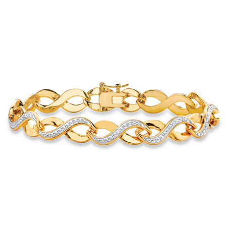 Diamond Accent Two-Tone Pave-Style Infinity Link Bracelet 18k Yellow Gold-Plated 7.25