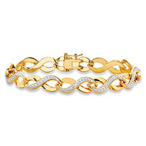 Diamond Accent Two-Tone Pave-Style Infinity Link Bracelet 18k Yellow Gold-Plated 7.25""