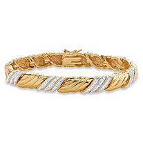 Diamond Accent Pave-Style Textured Two-Tone Ribbon Bracelet 18k Yellow Gold-Plated 7.5""
