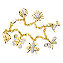 Diamond Accent Pave-Style Rolo-Link Whimsical Springtime Charm Bracelet 18k Yellow Gold-Plated 7.5""