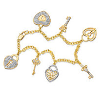Diamond Accent Pave-Style Rolo-Link Heart and Key Charm Bracelet 18k Yellow Gold-Plated 7.5""