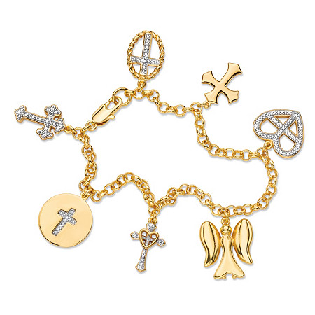 Diamond Accent Pave-Style Rolo-Link Cross and Angel Charm Bracelet 18k Yellow Gold-Plated 7.5