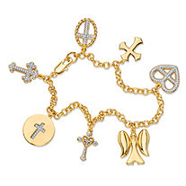 Diamond Accent Pave-Style Rolo-Link Cross and Angel Charm Bracelet 18k Yellow Gold-Plated 7.5""