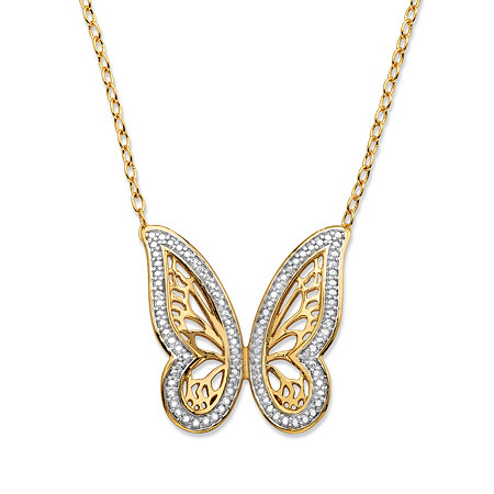 Diamond Accent Pave-Style Two-Tone Butterfly Pendant Necklace 18k Yellow Gold-Plated 18