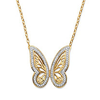 "Diamond Accent Pave-Style Two-Tone Butterfly Pendant Necklace 18k Yellow Gold-Plated 18""-20"""