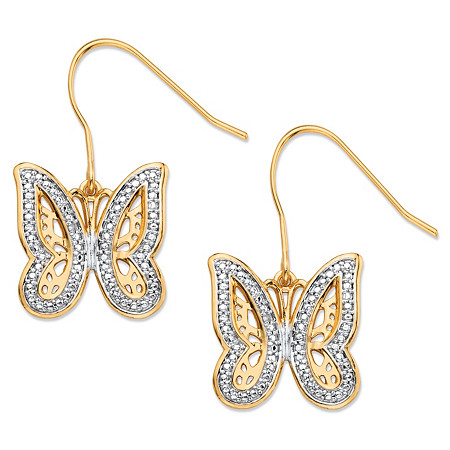 Diamond Accent Pave-Style Two-Tone Butterfly Drop Earrings 18k Yellow Gold-Plated at PalmBeach Jewelry