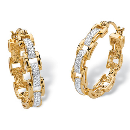 Diamond Accent Pave-Style Two-Tone Bar-Link Hoop Earrings 18k Yellow Gold-Plated (1