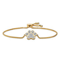 Diamond Accent Paw Print Adjustable Drawstring Bracelet 18k Yellow Gold-Plated 9