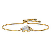 Diamond Accent Elephant Charm Adjustable Drawstring Bracelet 18k Yellow Gold-Plated 9""