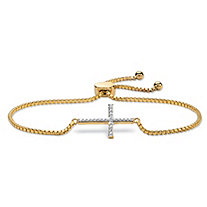 Diamond Accent Cross Charm Adjustable Drawstring Bracelet 18k Yellow Gold-Plated 9