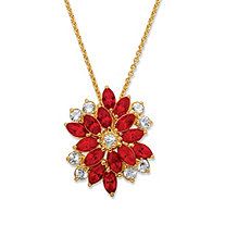 "Marquise-Cut Simulated Ruby and White Crystal Pendant Necklace MADE WITH SWAROVSKI ELEMENTS 18k Gold-Plated 18""-20"""