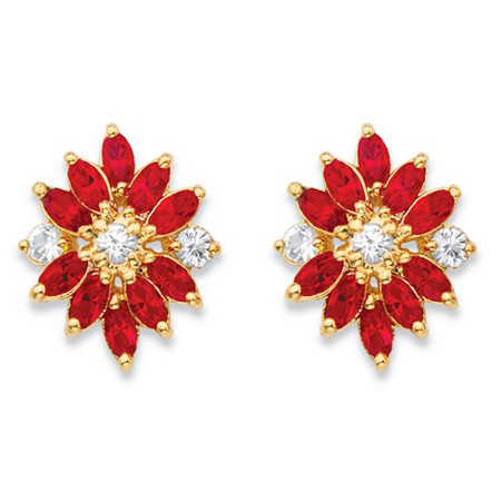 Marquise-Cut Red and White Crystal 18k Yellow Gold-Plated Stud Earrings MADE WITH SWAROVSKI ELEMENTS at PalmBeach Jewelry