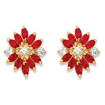Marquise-Cut Red and White Crystal 18k Yellow Gold-Plated Stud Earrings MADE WITH SWAROVSKI ELEMENTS