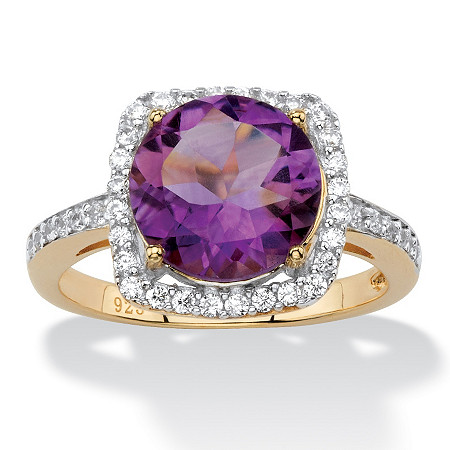 3.66 TCW Genuine Purple Amethyst and Cubic Zirconia Halo Cocktail Ring in 14k Gold over .925 Sterling Silver at PalmBeach Jewelry