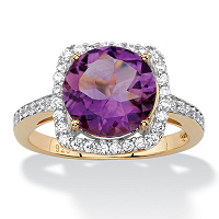 Genuine Purple Amethyst And Cubic Zirconia Halo Cocktail Ring In 14k Gold Over Sterling Silver ONLY $39.99