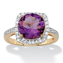 3.66 TCW Genuine Purple Amethyst and Cubic Zirconia Halo Cocktail Ring in 14k Gold over .925 Sterling Silver