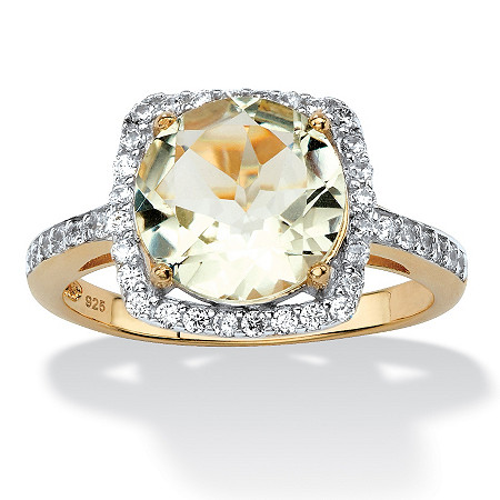 3.66 TCW Genuine Green Amethyst and Cubic Zirconia Halo Cocktail Ring in 14k Gold over .925 Sterling Silver at PalmBeach Jewelry