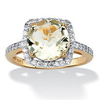 3.66 TCW Genuine Green Amethyst and Cubic Zirconia Halo Cocktail Ring in 14k Gold over .925 Sterling Silver
