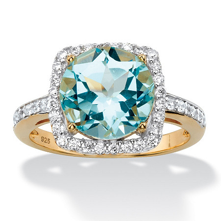 5.86 TCW Genuine Sky Blue Topaz and Cubic Zirconia Halo Cocktail Ring in 14k Gold over .925 Sterling Silver at PalmBeach Jewelry