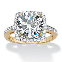 SETA JEWELRY 4.36 TCW White Cubic Zirconia Halo Cocktail Ring in 14k Gold over .925 Sterling Silver