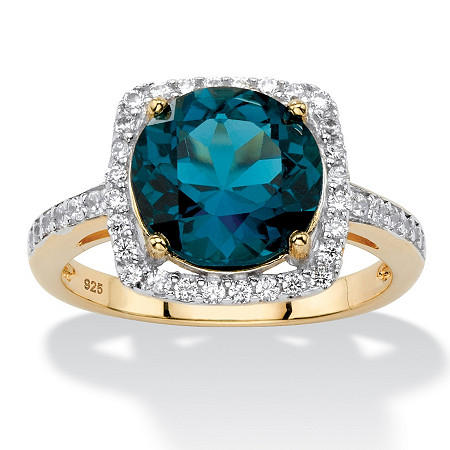 5.86 TCW Genuine London Blue Topaz Halo Cocktail Ring in 14k Gold over .925 Sterling Silver at PalmBeach Jewelry