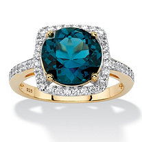 5.86 TCW Genuine London Blue Topaz Halo Cocktail Ring in 14k Gold over .925 Sterling Silver