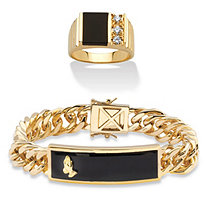 SETA JEWELRY Men's Genuine Black Onyx and Cubic Zirconia Praying Hands Curb-Link Bracelet and Ring .30 TCW 14k Gold-Plated 8