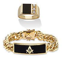 SETA JEWELRY Men's Genuine Black Onyx Masonic Curb-Link Bracelet with FREE Matching Onyx and Cubic Zirconia Ring 14k Gold-Plated 8