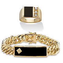 SETA JEWELRY Men's Genuine Black Onyx Diamond Accent Curb-Link Bracelet with FREE Matching Onyx and Cubic Zirconia Ring 14k Gold-Plated 8