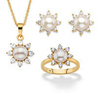 "1.17 TCW Genuine Cultured Freshwater Pearl and CZ 3-Piece Halo Necklace, Earrings and Ring Set in 18k Gold over Sterling Silver 18""-20"""