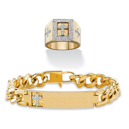 """Diamond Accent Curb-Link I.D.-Style Cross Bracelet with FREE Cubic Zirconia Halo Cross Ring 14k Yellow Gold-Plated 8"""" at PalmBeach Jewelry"""