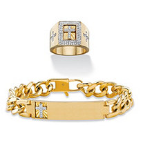 SETA JEWELRY Diamond Accent Curb-Link I.D.-Style Cross Bracelet with FREE Cubic Zirconia Halo Cross Ring 14k Yellow Gold-Plated 8