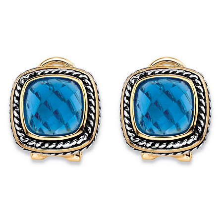 Cushion-Cut Simulated Sky Blue Topaz Rope Halo Button Earrings Antiqued Silvertone and 14k Yellow Gold-Plated at PalmBeach Jewelry