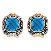 Cushion-Cut Simulated Sky Blue Topaz Rope Halo Button Earrings Antiqued Silvertone and 14k Yellow Gold-Plated