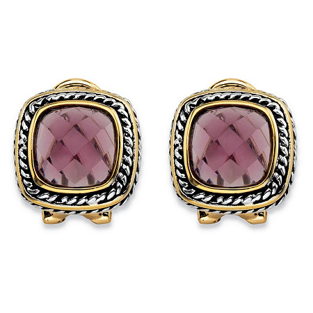 Cushion-Cut Simulated Purple Amethyst Two-Tone Rope Halo Button Earrings Antiqued Silvertone and 14k Yellow Gold-Plated at PalmBeach Jewelry